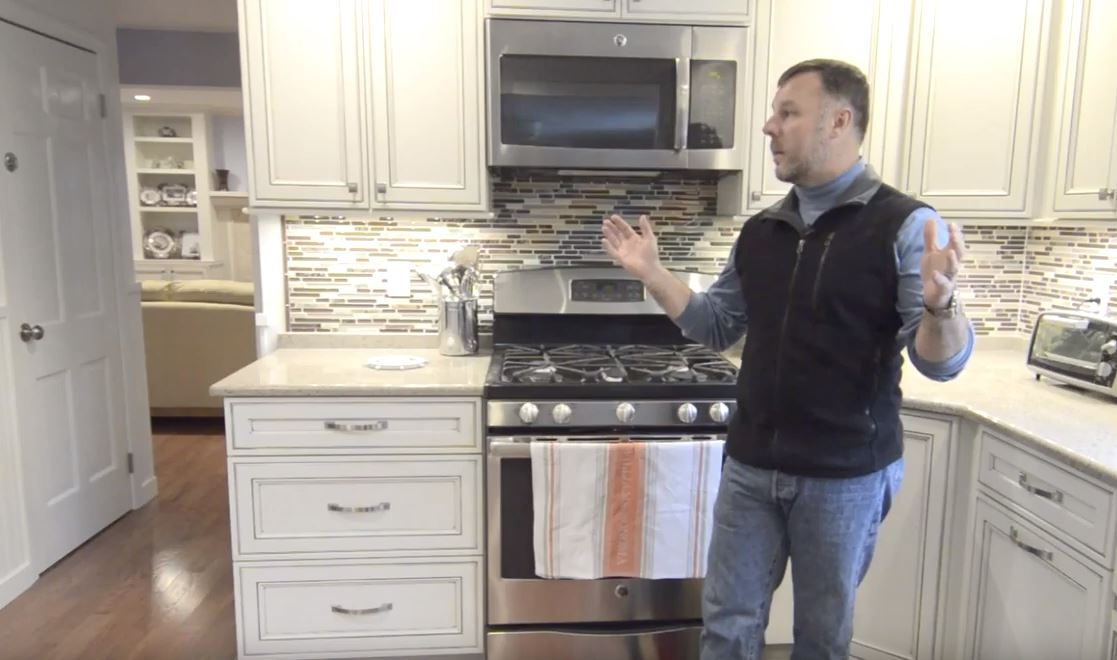 happy client giving testimonial about first floor remodel experience